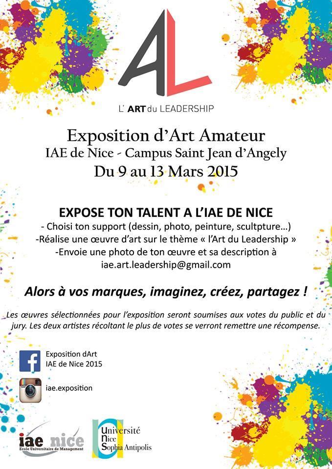 Exposition d'Art Amateur à l'IAE de Nice du 9 au 13 Mars2015